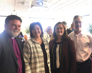 Archbishop Philip Richardson, Betsan Martin (A-Response and Methodist Public Issues), Julianne Hickey (Caritas), Rod Oram (Business Journalist)